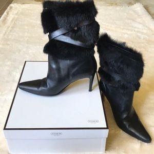 Coach size 9 fur trim boots